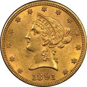 1891 CC $10 MS obverse