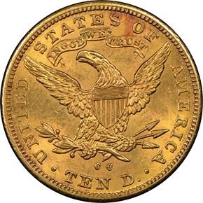 1891 CC $10 MS reverse