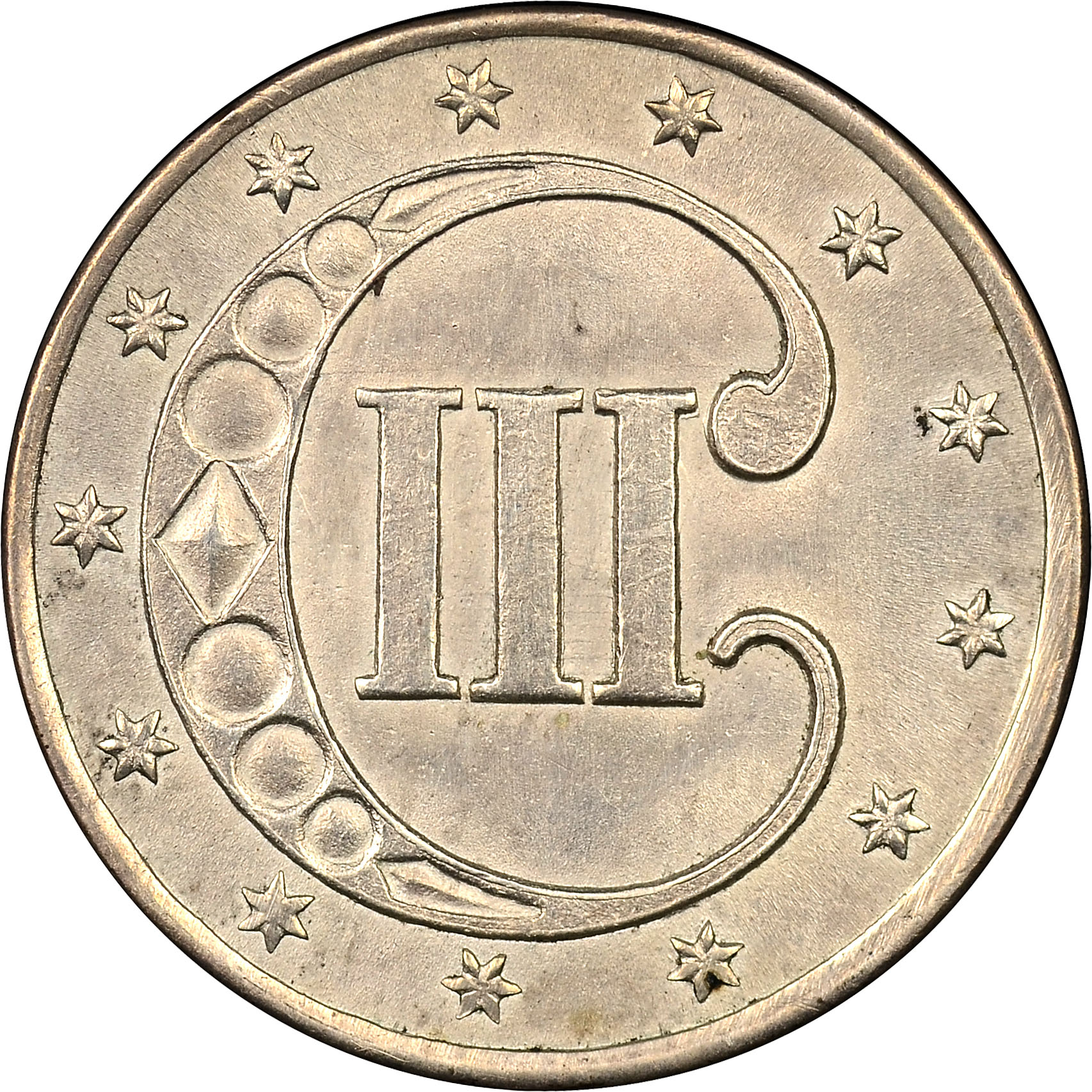 1853 3 cent coin