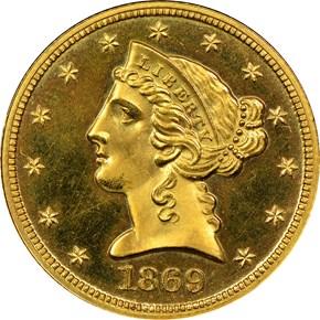 1869 $5 PF obverse