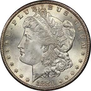 1881 CC S$1 MS obverse