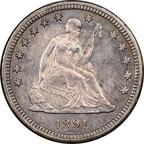 1891 O 25C MS obverse