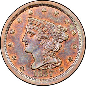 1857 C-1 1/2C MS obverse