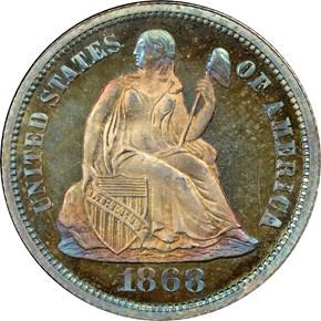 1868 10C PF obverse