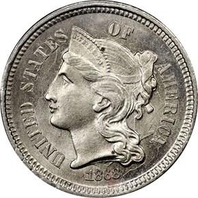 1868 3CN MS obverse