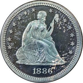 1886 25C PF obverse