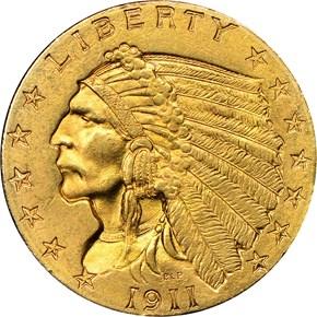 1911 $2.5 MS obverse