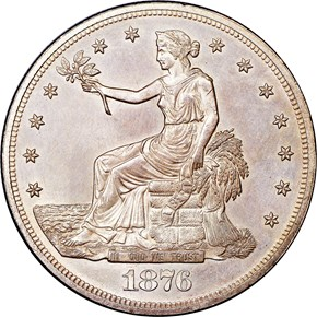 1876 T$1 MS obverse