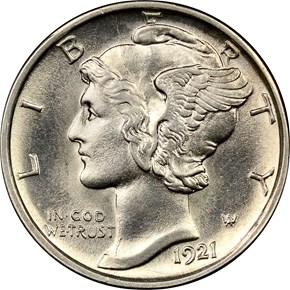1921 D 10C MS obverse