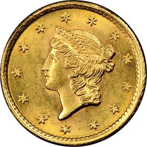 1852 G$1 MS obverse
