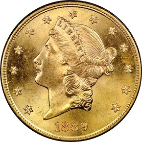 1889 S $20 MS obverse