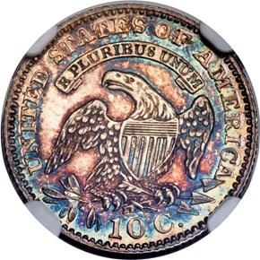 1828 SMALL DATE JR-1 10C PF reverse