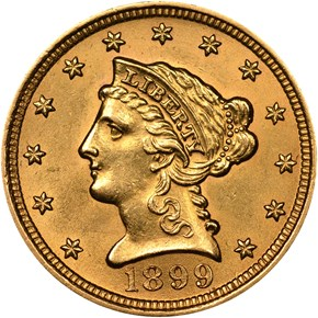 1899 $2.5 MS obverse