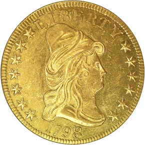 1798/7 STARS 7X6 BD-2 $10 MS obverse