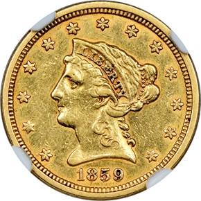 1859 TYPE 1 $2.5 MS obverse