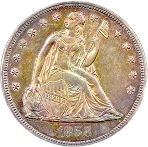 1858 $1 PF obverse