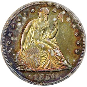 1851 RESTRIKE S$1 PF obverse
