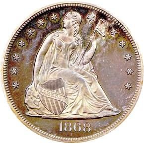 1868 $1 PF obverse
