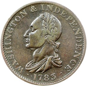 1783 NO BUT, DRAPE BUST WASHINGTON & INDEPENDENCE obverse