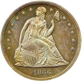 1866 MOTTO S$1 PF obverse