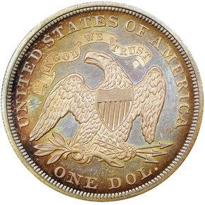 1866 MOTTO S$1 PF reverse