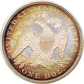 1866 MOTTO $1 PF reverse