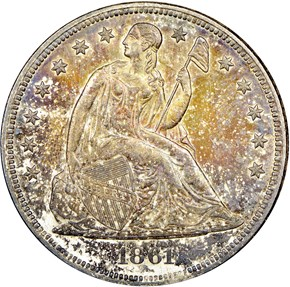 1861 $1 MS obverse