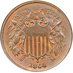 1864 LARGE MOTTO 2C MS obverse