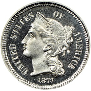 1873 CLOSED 3 3CN PF obverse