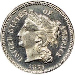 1875 3CN PF obverse