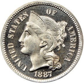 1887 3CN PF obverse