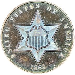 1864 3CS PF obverse