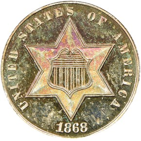 1868 3CS PF obverse