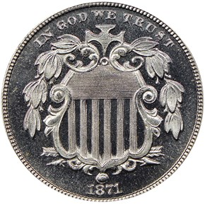 1871 5C PF obverse