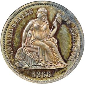 1866 10C PF obverse