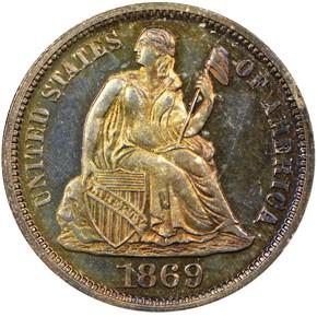 1869 10C PF obverse