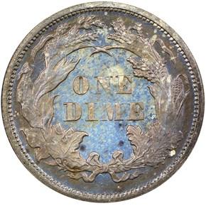 1869 10C PF reverse