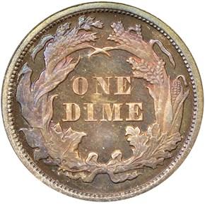 1875 10C PF reverse