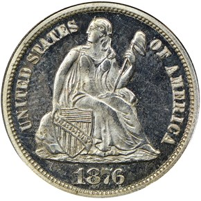 1876 10C PF obverse