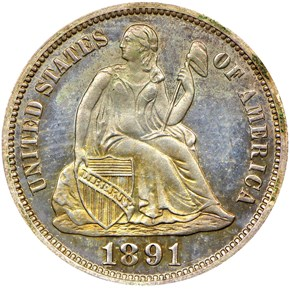 1891 10C PF obverse