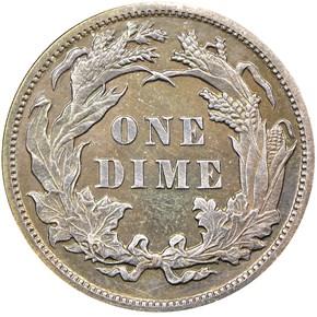 1891 10C PF reverse