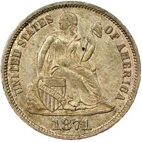1871 10C MS obverse
