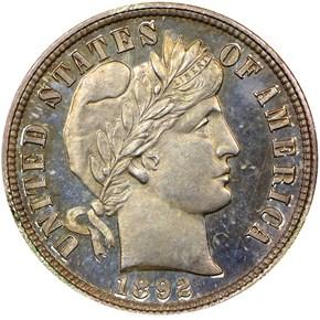 1892 10C PF obverse