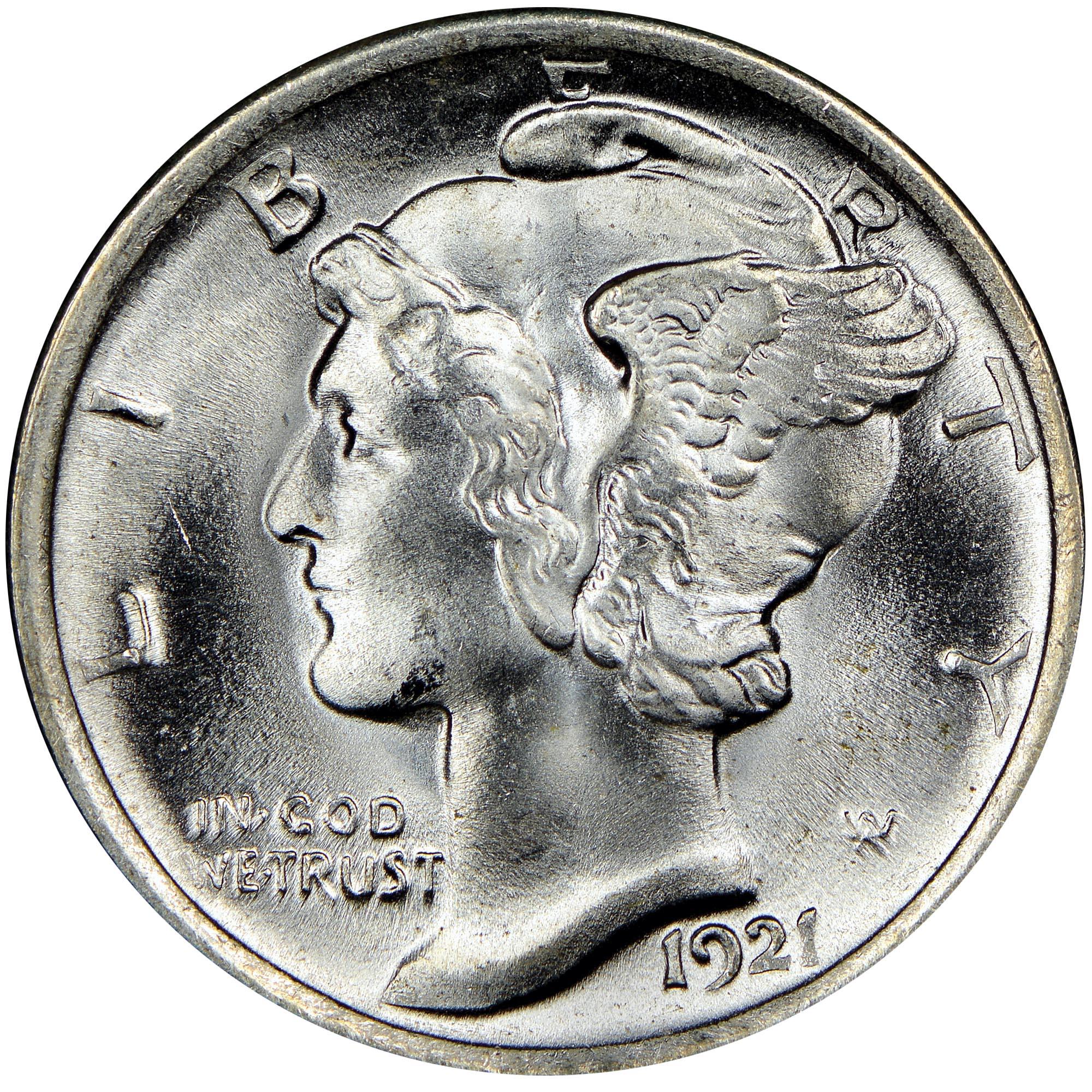 1920 D Silver Mercury Dime 10c Average Circulated