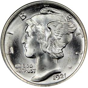 1921 10C MS obverse