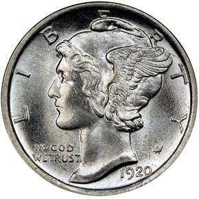 1920 D 10C MS obverse