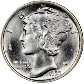 1925 D 10C MS obverse