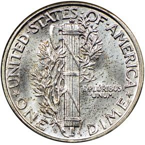 1927 D 10C MS reverse