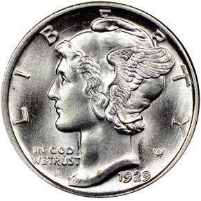 1929 D 10C MS obverse