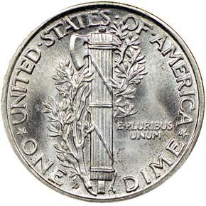 1929 D 10C MS reverse